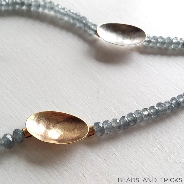 Girocollo ottone e argento forgiati a mano e agata