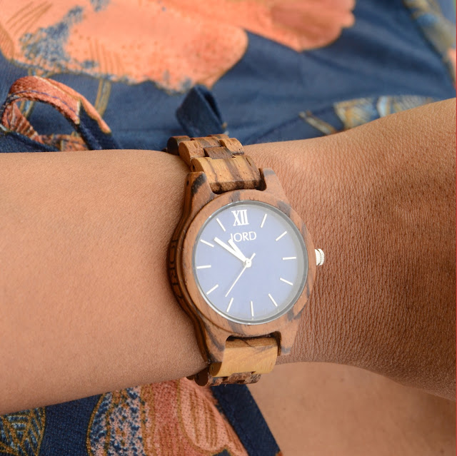 jord frankie 35 watch zebrawood and navy