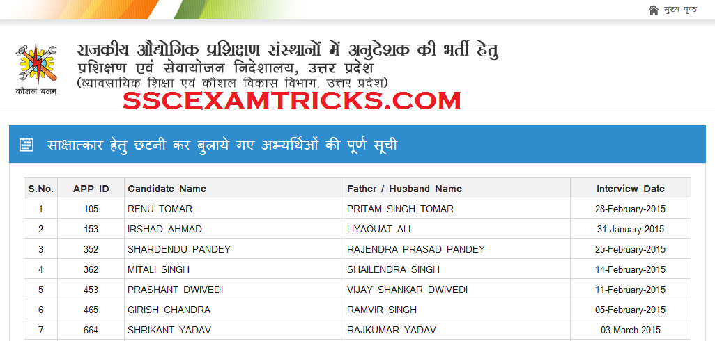 UP ITI LIST OF SELECTED CANDIDATES FOR INTERVIEW