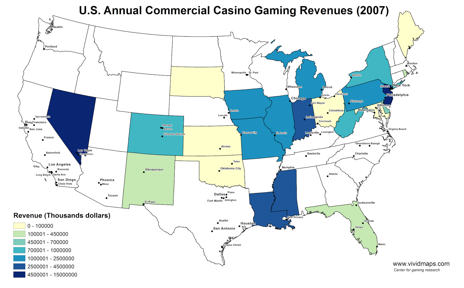 U.S. Annual Commercial Casino Gaming Revenues (2007)