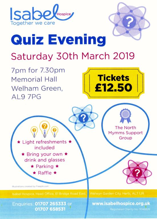 Flyer for Isabel Hospice quiz night