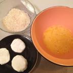Chevre medallions, beaten egg, Panko Bread Crumbs
