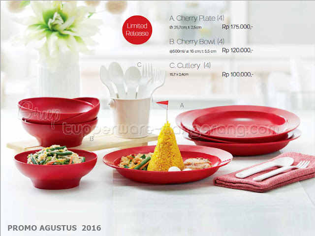 Cherry Plate Bowl Cutlery Promo Tupperware Agustus 2016