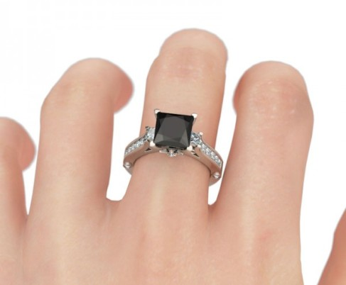 Jeulia Classic Princess Cut Created Black Diamond Engagement Ring- The Price: $99.95