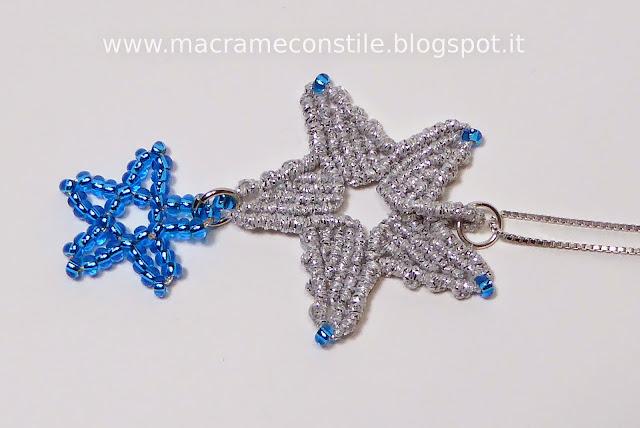 MACRAME MARGARETENSPITZE stella argento ciondolo collana