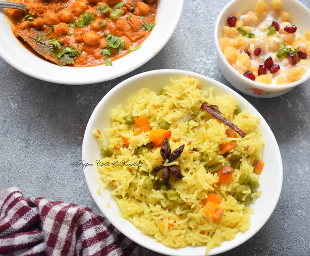 Coconut milk vegetable pulao recipe