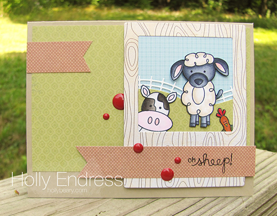 Farm Animal card by Holly Endress | Famyard Friends Stamp set by Newton's Nook Designs #newtonsnook
