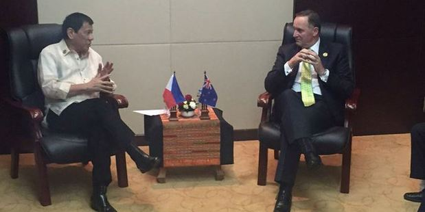 John Key escapes verbal lashing in meeting with Philippine president Rodrigo Duterte