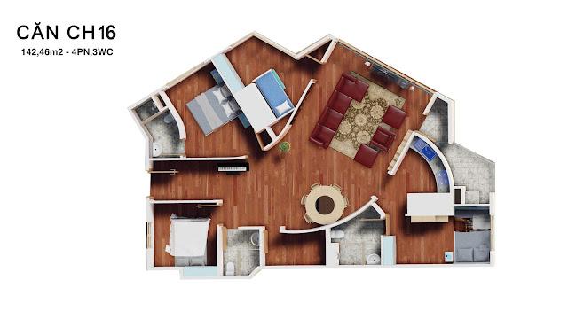 Thiết kế căn hộ 16 tháp doanh nhân