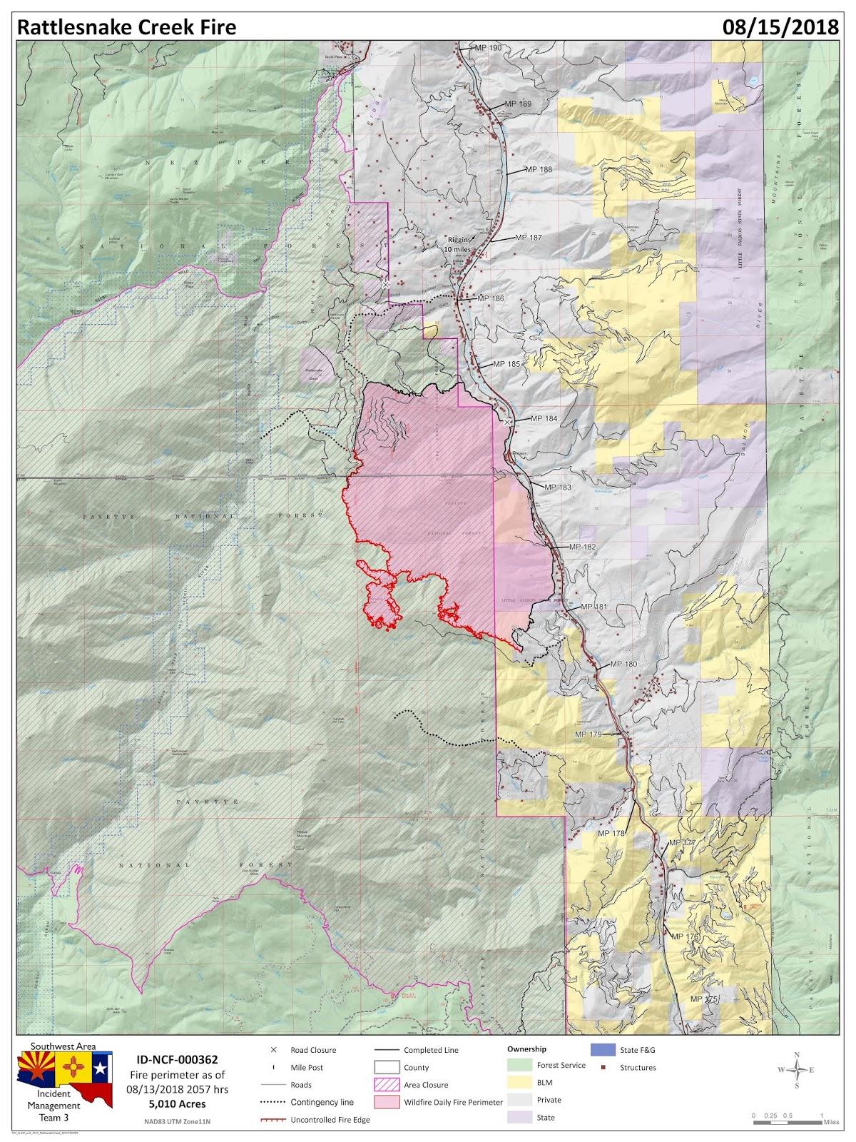 Idaho Fire Information Rattlesnake Fire Update August 15th