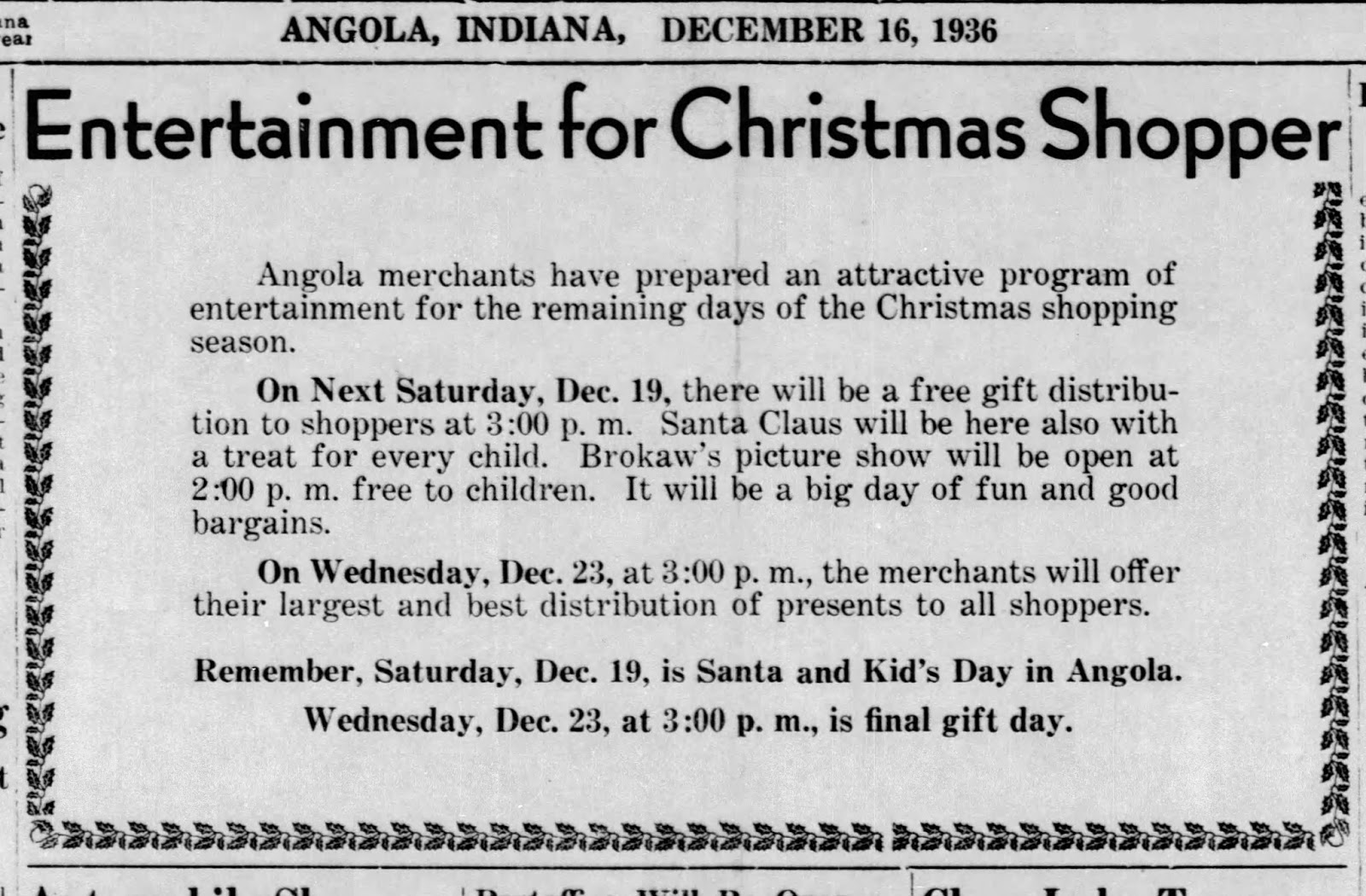 Steuben County Indiana: Through The Years: CHRISTMAS IN ANGOLA 1936