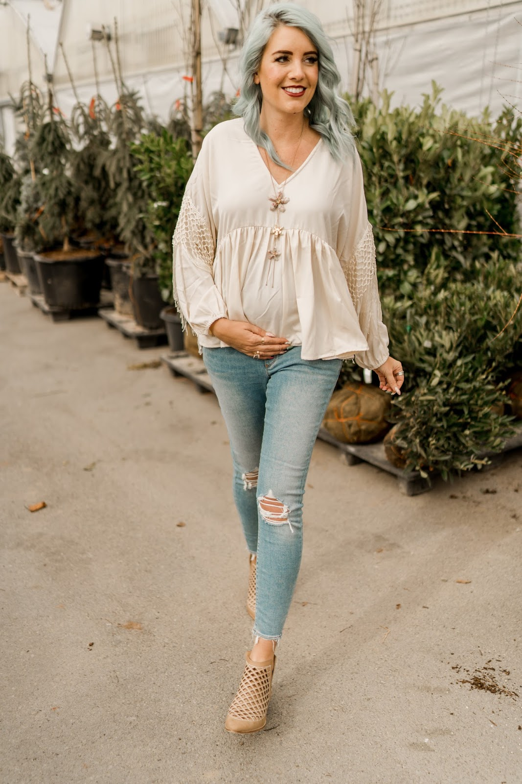 Maternity Outfit, Booties, Fringe