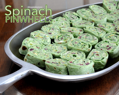 Spinach Pinwheels with Pears & Dried Cranberries, a festive holiday appetizer ♥ AVeggieVenture.com.