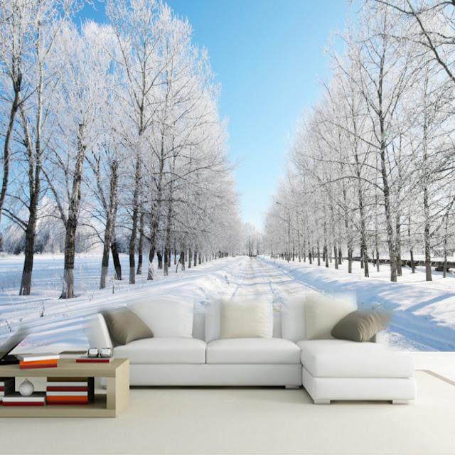 naturtapet vinter landskap tapet vardagsrum fototapet