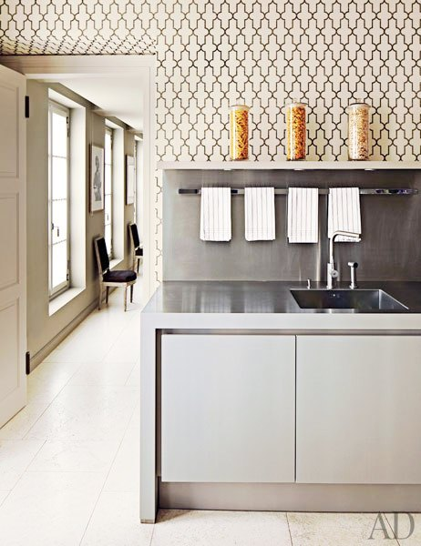 Kitchen with floor to ceiling Moroccan style Phillip Jeffries printed wallpaper and stainless appliances