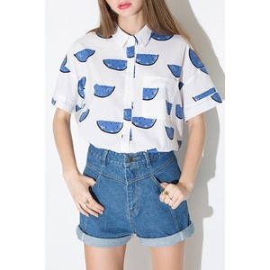 Chic mesh paneled print shirt, USD 15.99 from Oasap