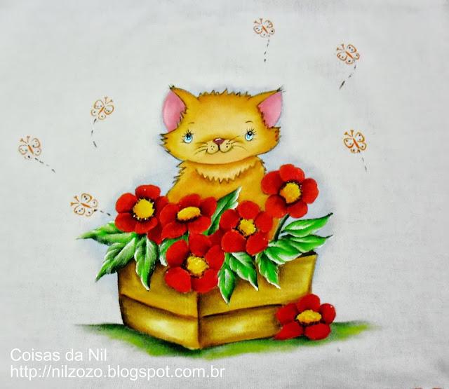 pintura em tecido pano de copa com gatinha e flores