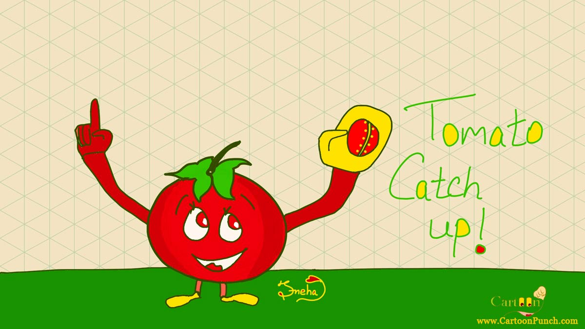 Happy cricketer tomato catch up ball cartoons by Sneha