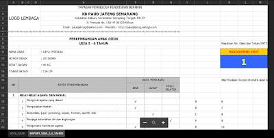 Aplikasi Raport TK B Kurikulum 2013 Dengan Aplikasi Excel