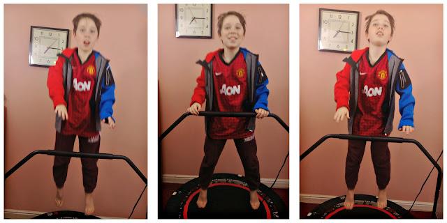 Collage of images of a child bouncing on a rebounder