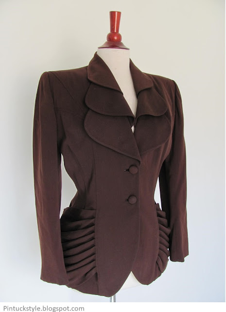 Lilli Ann 1940s jacket in brown with petal collar