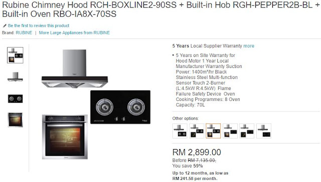 Rubine Chimney Hood with Built-in Hob and Built-in Oven