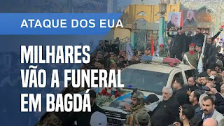 Multidão acompanha funeral de comandante Iraquiano e de Soleimani em Bagdá