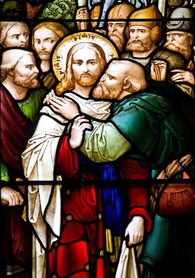 Imagem de Judas entregando Jesus Cristo com um beijo, vitral, #1