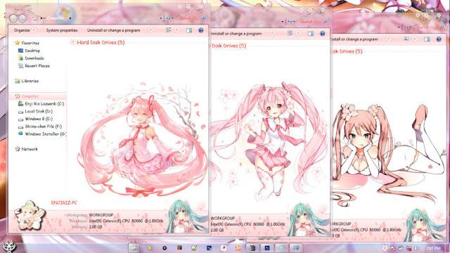 Hatsune Miku Sakura Theme Win 7 by Andrea_37