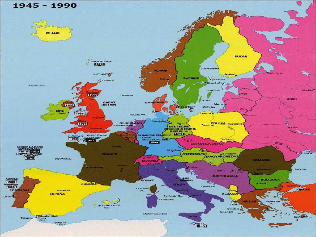 map of europe 1985