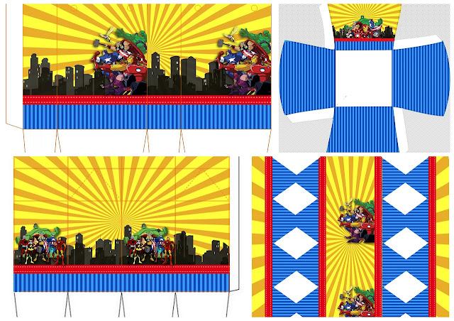 Los Vengadores Comic: Cajas para Recuerdo de Fiesta para Imprimir Gratis.