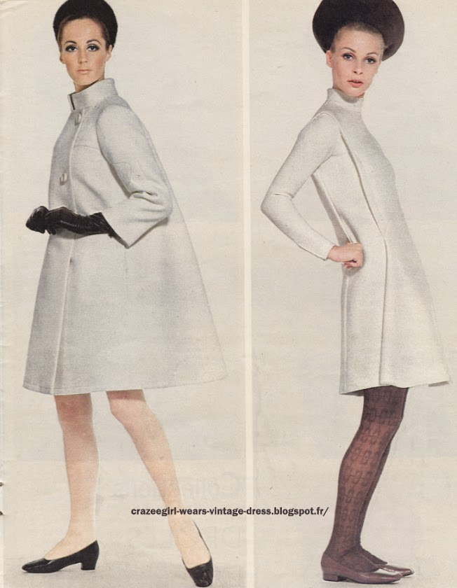 White coat - White dress - 1966 Maggy Rouff Pierre Cardin 60s 1960
