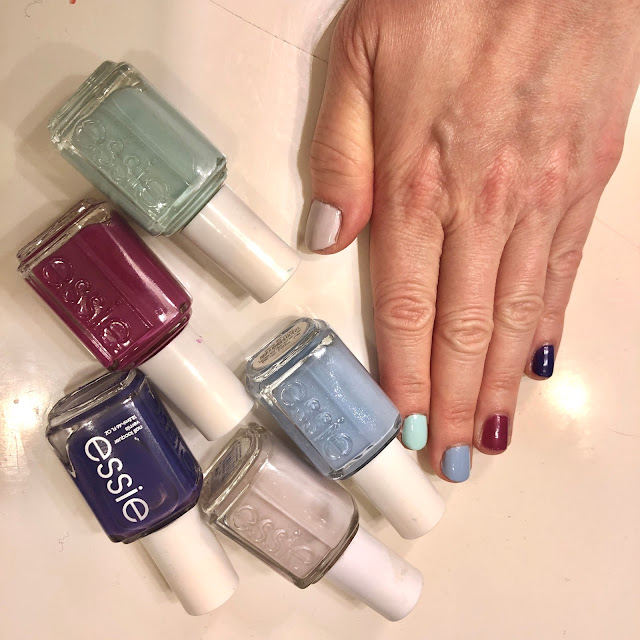 Essie, Essie nail polish, Essie Neo Whimsical, Essie Bikini So Teeny, Essie Mint Candy Apple, Essie DJ Play That Song, Essie All Access Pass, Skittles nails, spring nails, nails, nail polish, nail lacquer, nail varnish, manicure, #ManiMonday