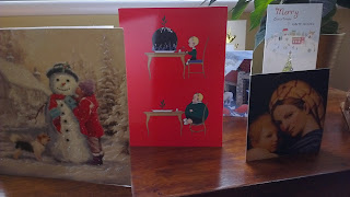 Christmas cards on display