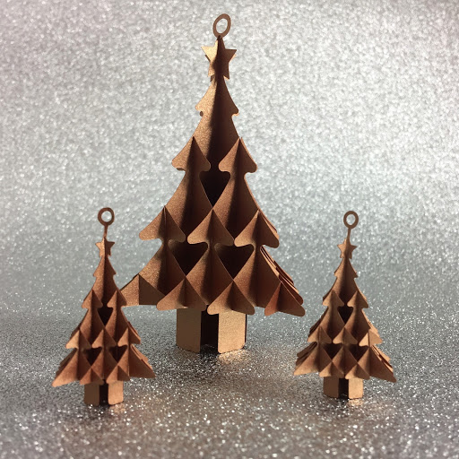Small and large Sliceform Christmas trees.  Free cut file and tutorial by Nadine Muir for Silhouette UK
