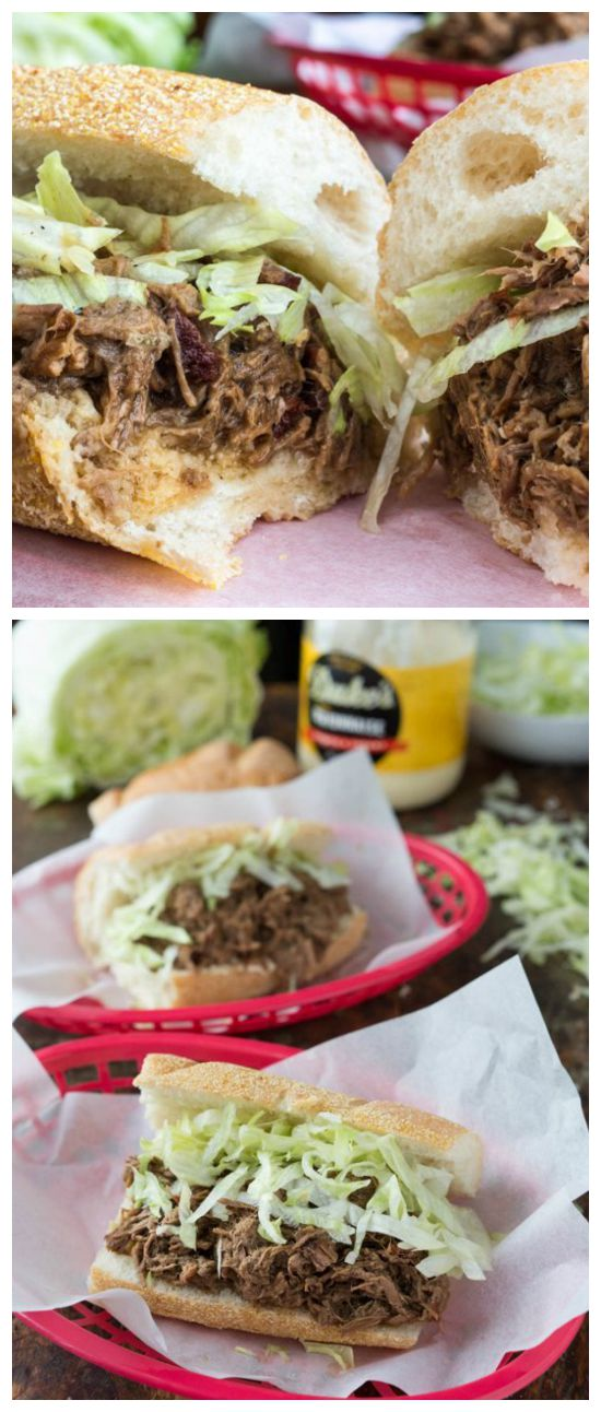 Slow Cooker Roast Beef Po' Boy Sandwiches from The Kitchn featured on SlowCookerFromScratch.com.
