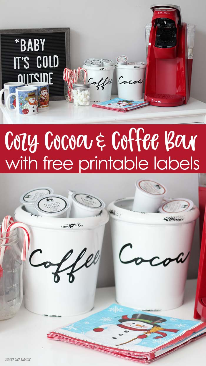 Make a cozy hot cocoa and coffee bar  at home! Includes free printable labels to use with Cricut or Silhouette cutting machines. Super cute and simple winter party idea the whole family will love. Perfect for a snow day! #ad #outsmarttheseason #coffeebar #hotcocoa #hotchocolate #snowday #coffee