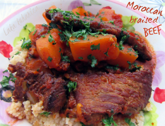 Moroccan braised beef by Laka kuharica: beef intensely flavored with Moroccan spices.