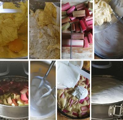 Zubereitung Rhabarberkuchen mit Mandelbaiser