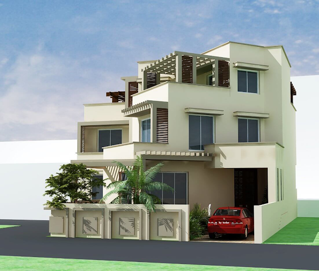 House Front Elevation Triple Story 3D Design Photo Picture & Wallpapers