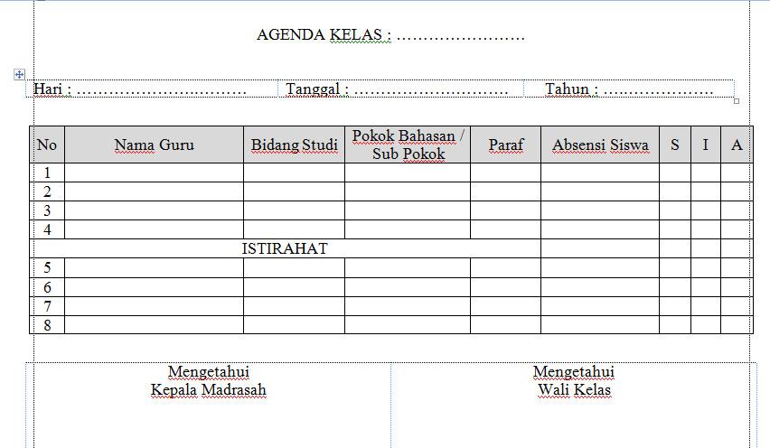 Download Contoh Agenda Kelas Terbaru 2016-2017 Format Microsoft Word