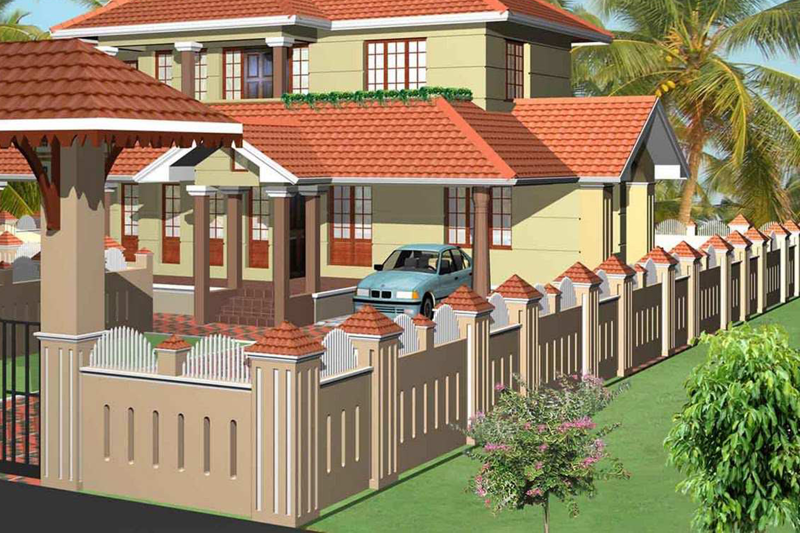 HouseInKerala.org: Design Concepts for Gate and Compound Wall