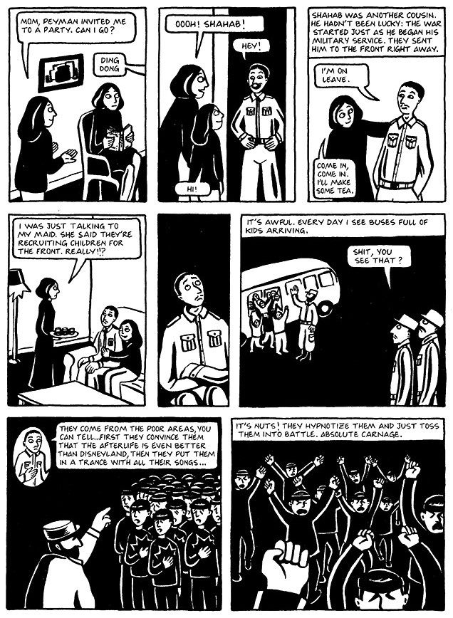 Read Chapter 13 - The Key, page 99, from Marjane Satrapi's Persepolis 1 - The Story of a Childhood