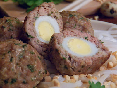 Quail Egg Stuffed Pork Meatballs with Rice Noddles