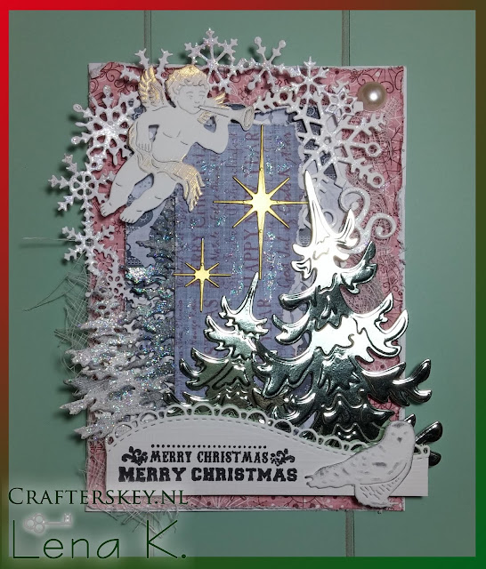Christmas Card Nellie's Choice Angel with Trumpet HSDJ013 Yvonne Creations YCD10053 Leane Creatief Lea'bilities 45.8947 Marianne Design LR0395 Marianne Design CR1345 Marianne Design Lr0125 Craft Emotions 115633/0167 Owl Memory Box Star Of Wonder #98167 Joy! Crafts 6410/0106