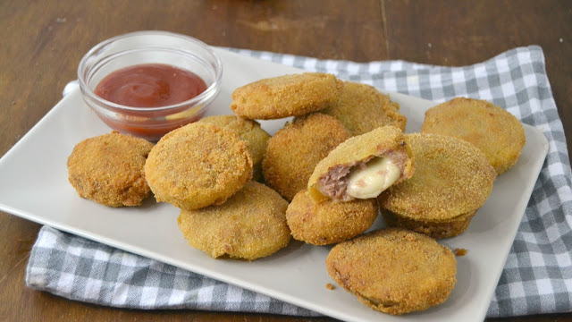 Aros de cebolla rellenos de carne picada y queso cuuking recetas de cocina - Como cocinar carne picada ...