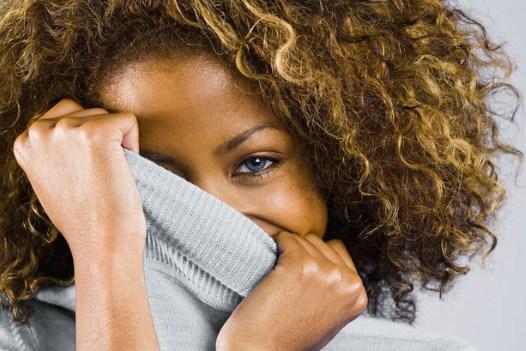 shy black woman