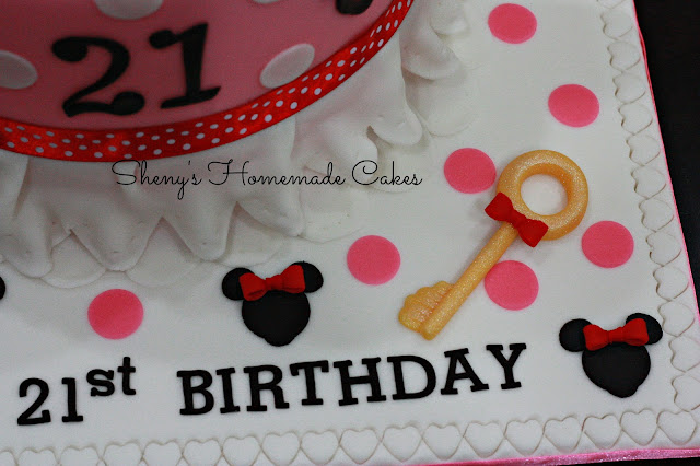 21st Birthday Cake For A Young Lady Who Loves Minnie Mouse