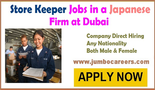 Urgent Dubai store keeper jobs, Store keeper jobs in Dubai with salary descriptions,