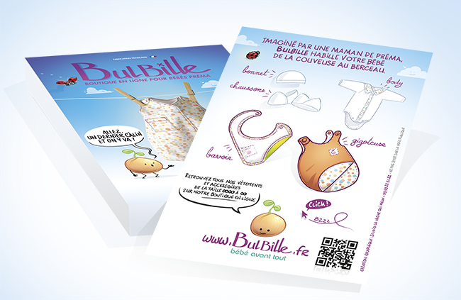 leaflet pour une marque de vêtement et accéssoirs pour bébé préma